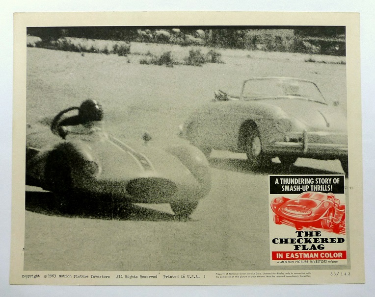The Checkered Flag original vintage auto movie lobby card Porsche
