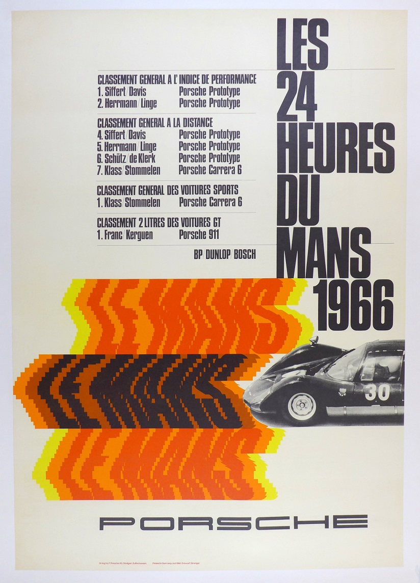 1966 Le Mans original vintage Porsche Factory racing commemorative poster 906