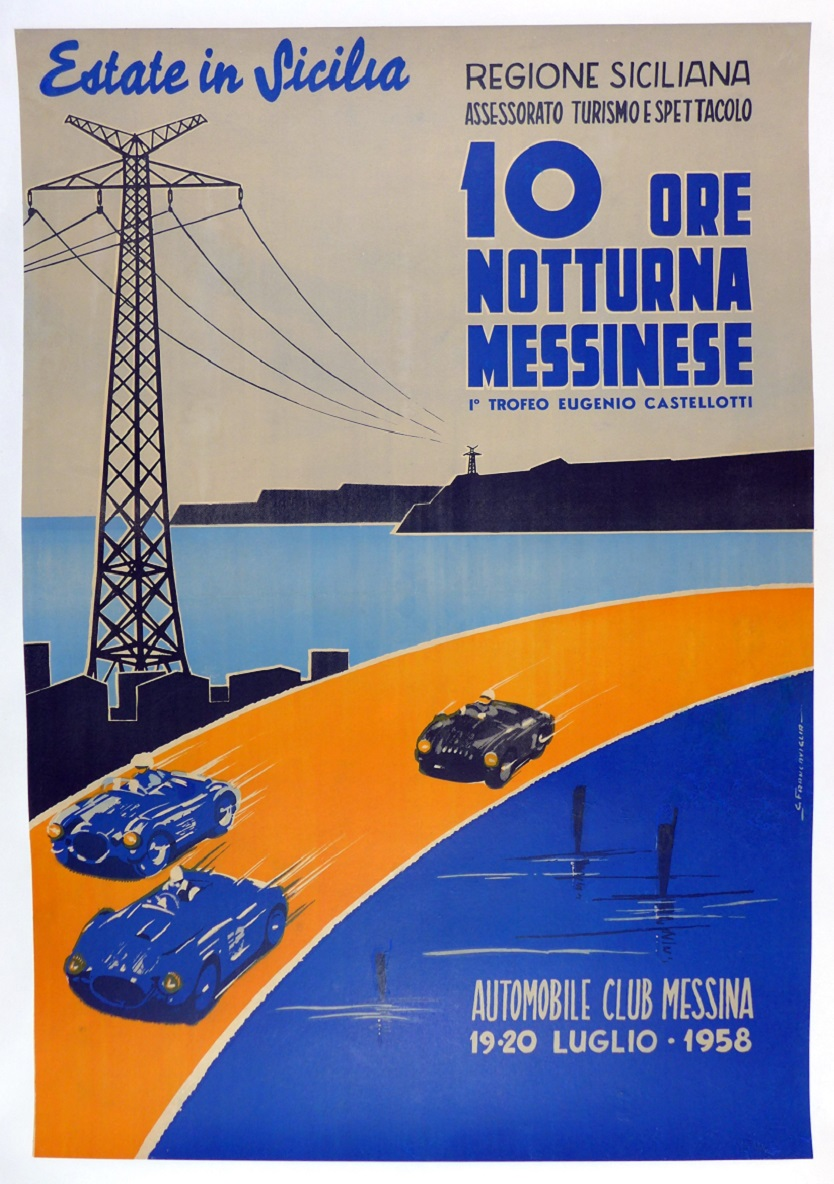 10 Ore Notturna Messinese night race Sicily 1958 original vintage