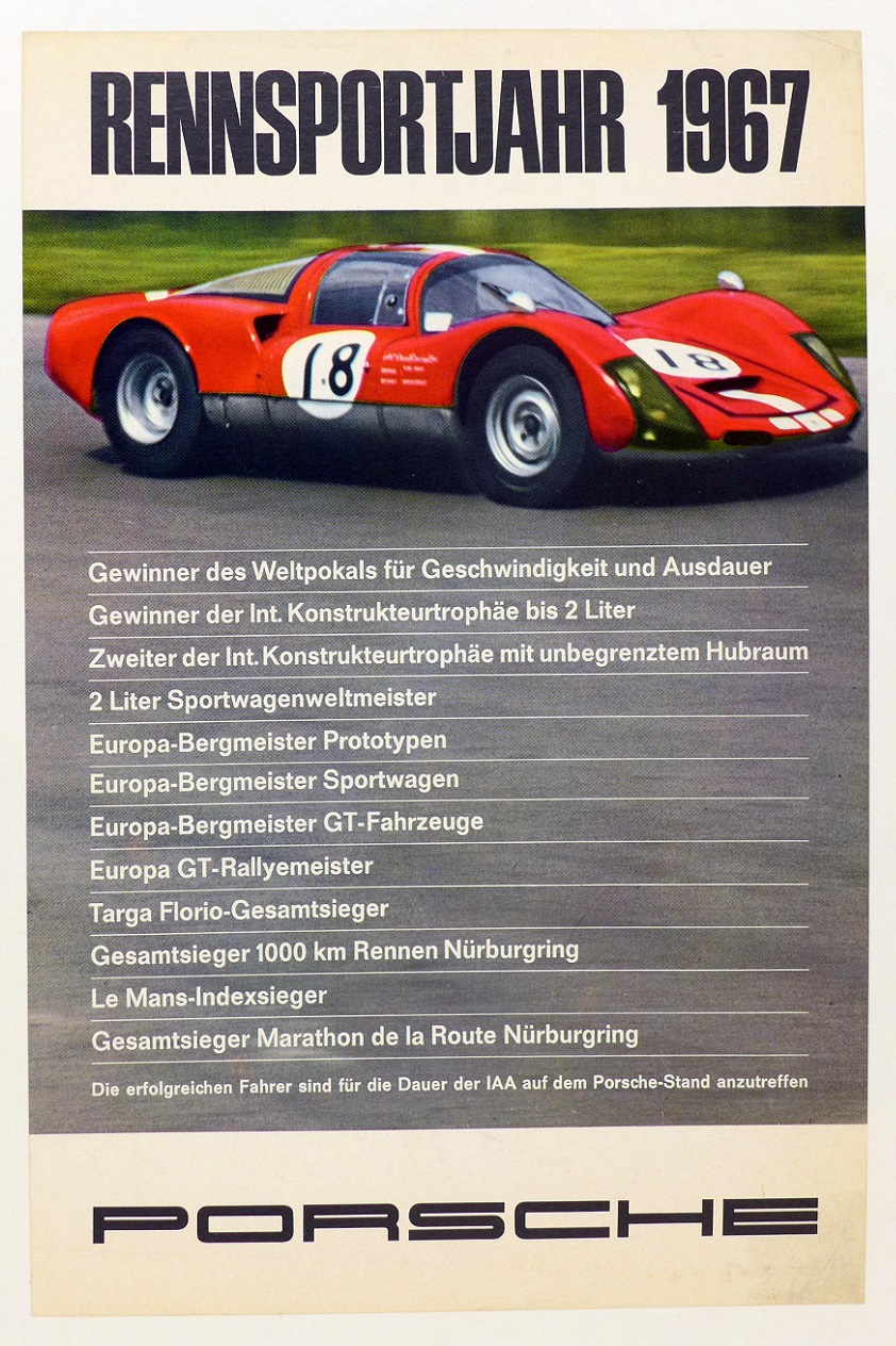 Porsche Factory Rennsportjahr 1967 racing successes