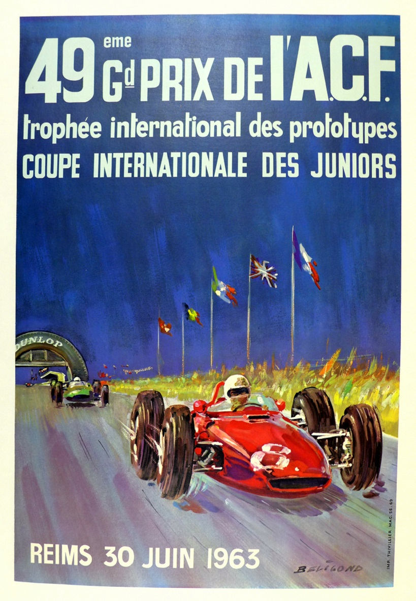Grand Prix Reims 1963 original vintage auto race event poster Ferrari