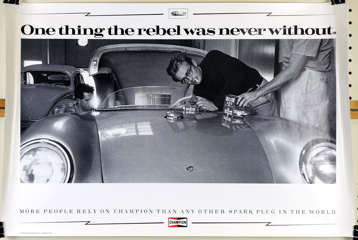 James Dean Champion Sparkplugs first edition poster 1988 Porsche 550 Spyder
