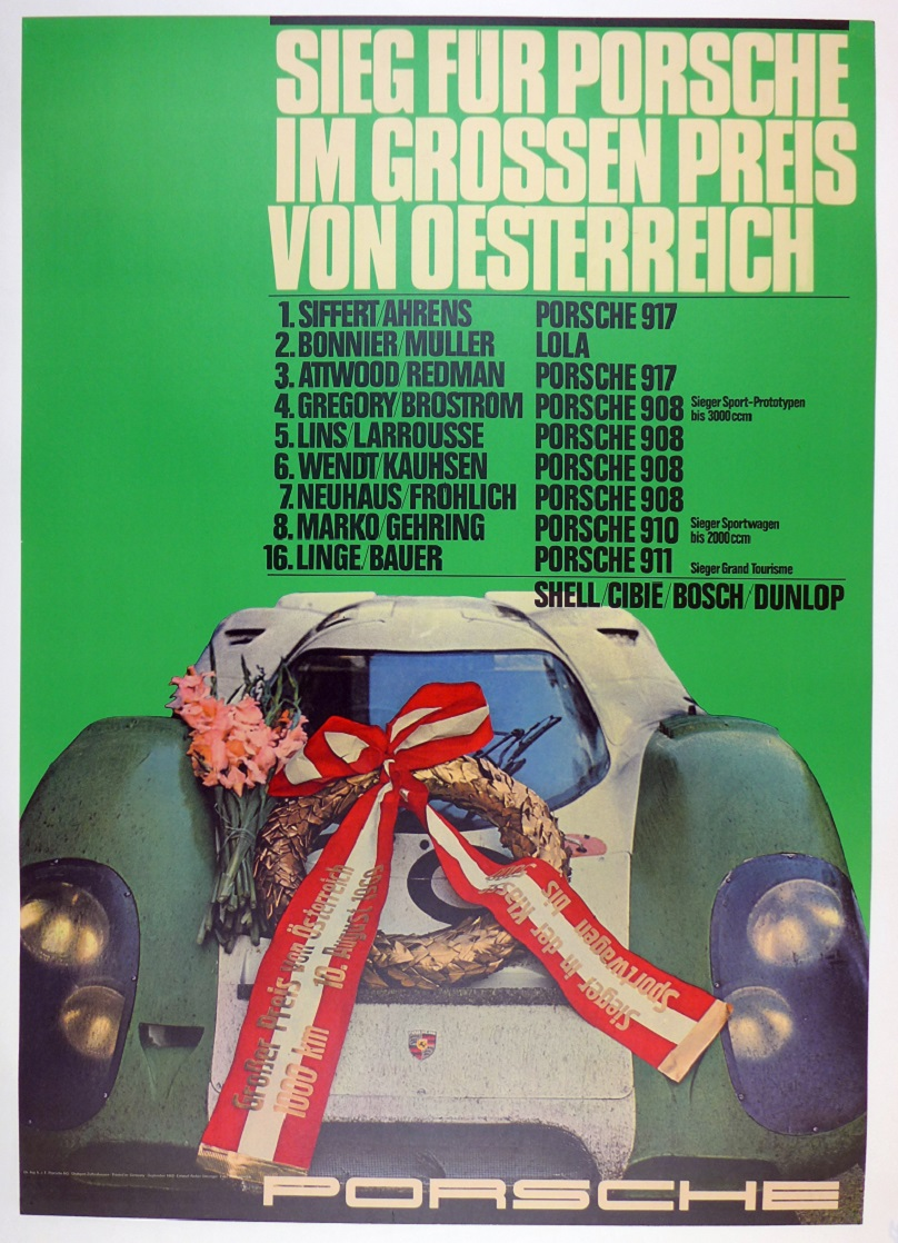 Grand Prix Austria 1969 original vintage Porsche Factory commemorative race event poster