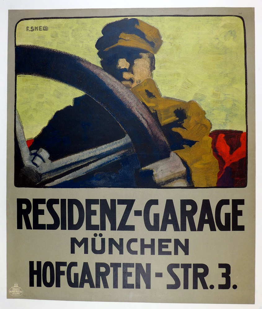 Residenz-Garage Munich original vintage auto advertising poster