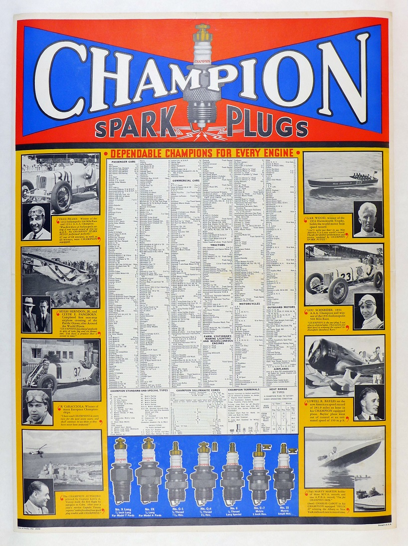Champion Spark Plugs 1932 original vintage advertising poster