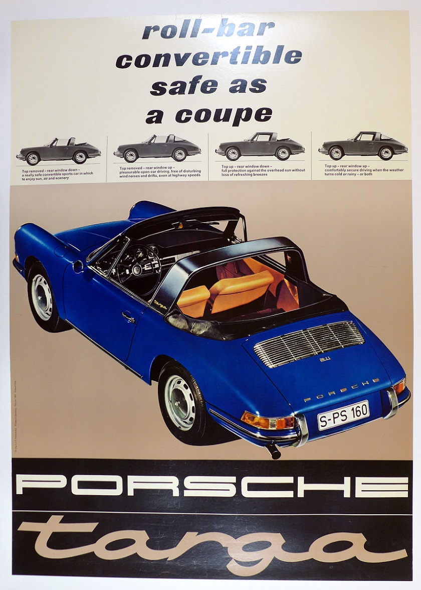 Targa original vintage Porsche auto showroom advertising poster