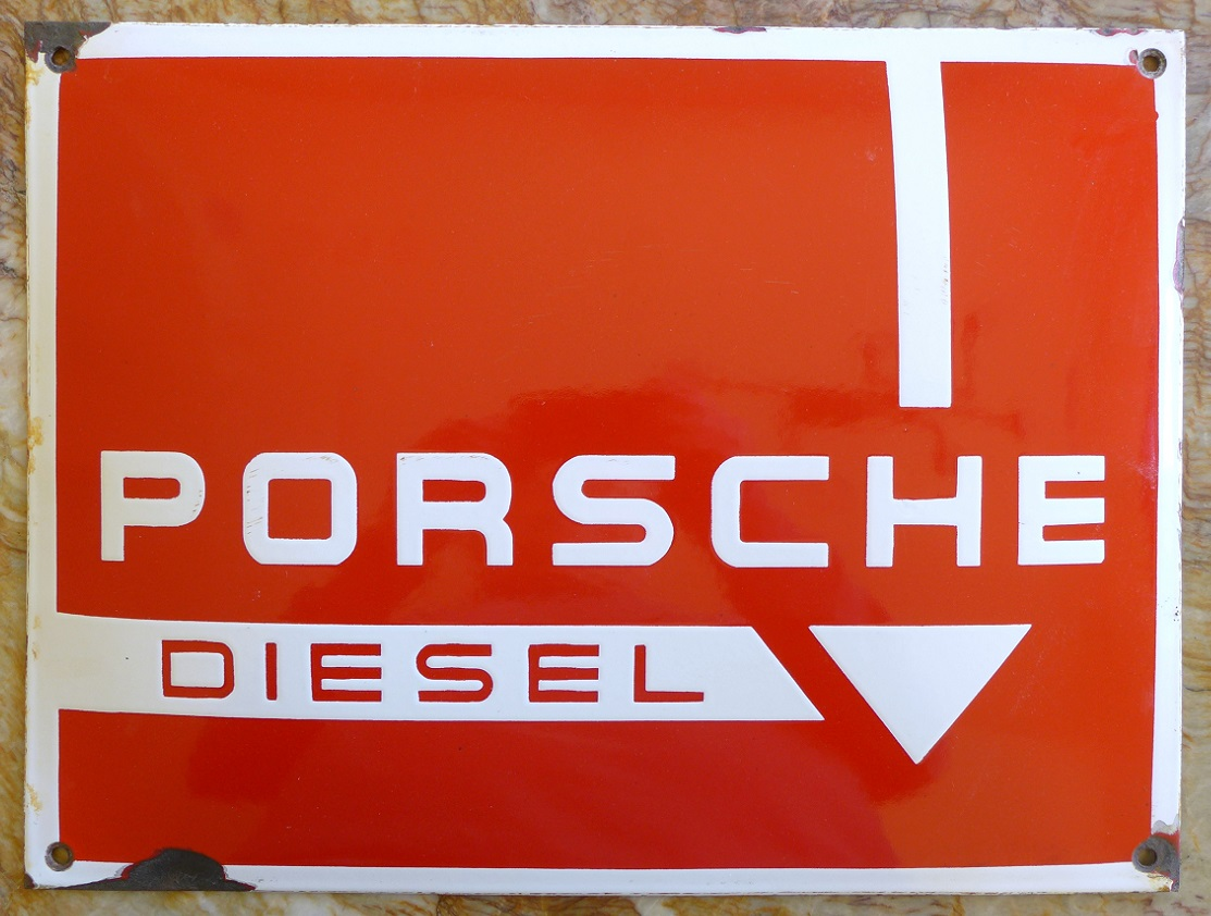 Porsche Diesel original vintage enamel on steel pillow sign