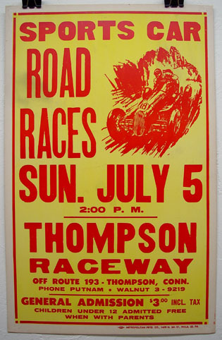 Thompson race track, original vintage racing poster