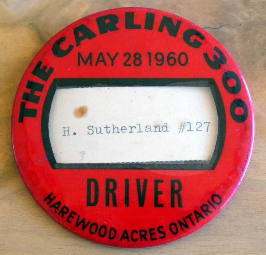Carling 300 driver badge 1960 Hugh Sutherland