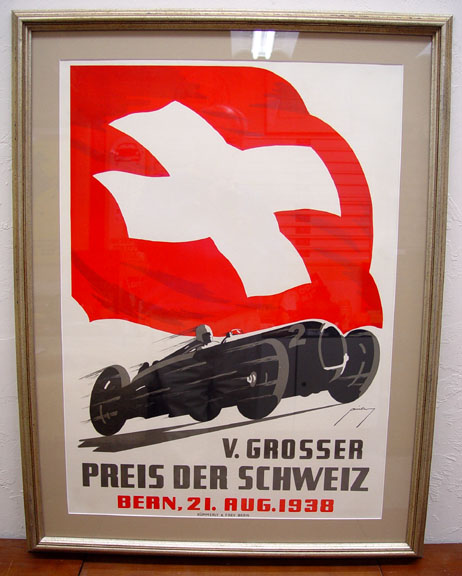 Swiss Grand Prix 1938 original vintage auto event poster