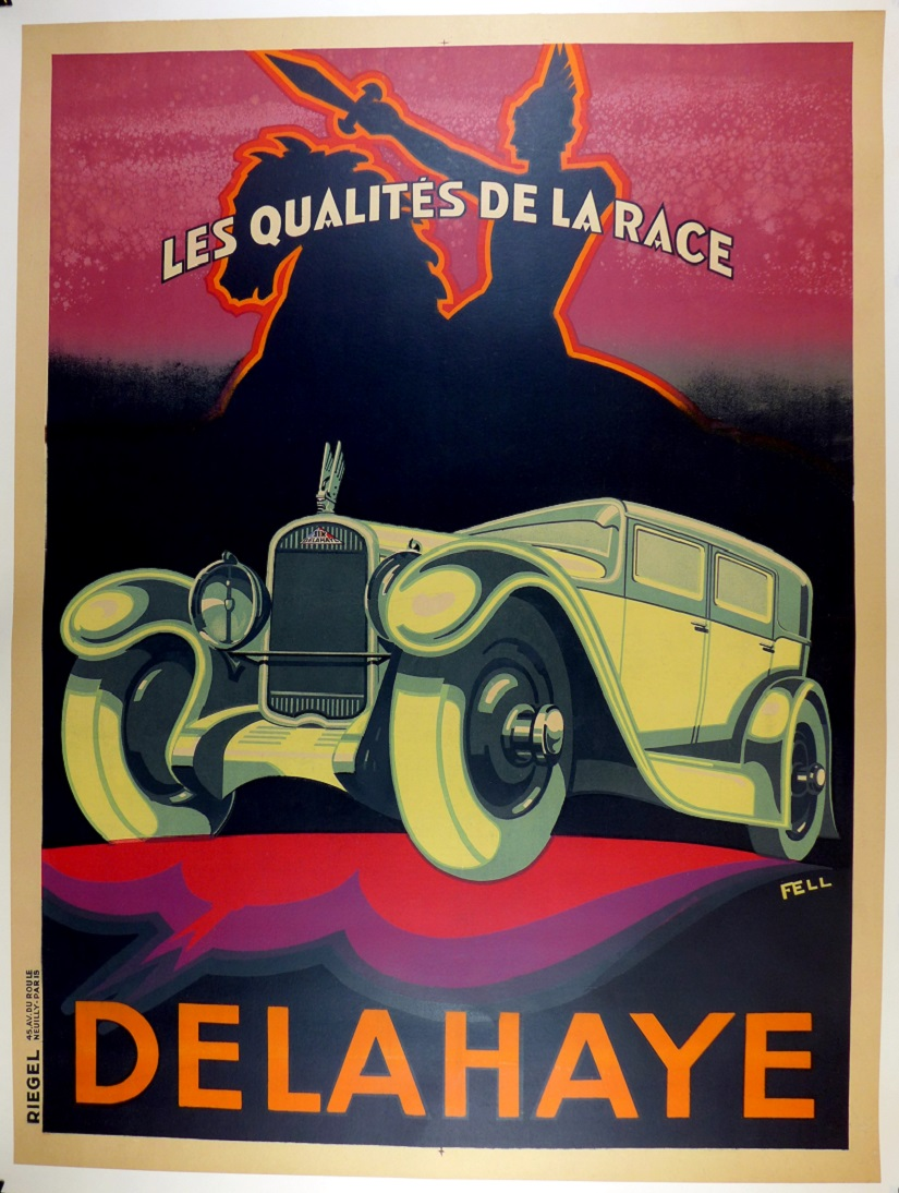 Delahaye original vintage auto advertising poster by Fell