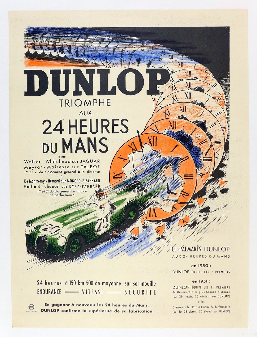 Dunlop triumphs at LeMans, 1952, original vintage commemorative poster