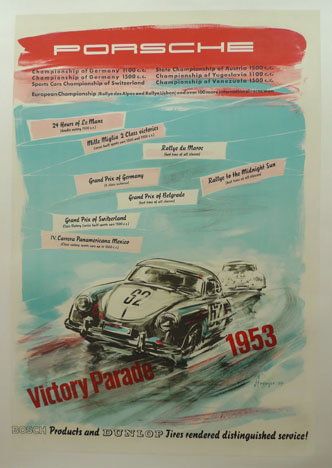 Victory Parade 1953 original vintage Porsche Factory auto racing commemorative poster