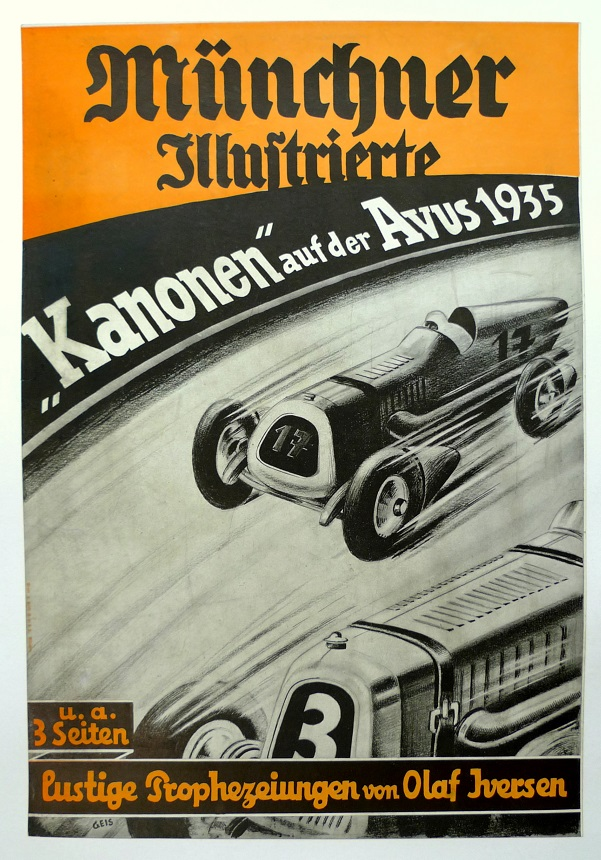 Kanonen auf der Avus 1935 original vintage auto race advertising poster
