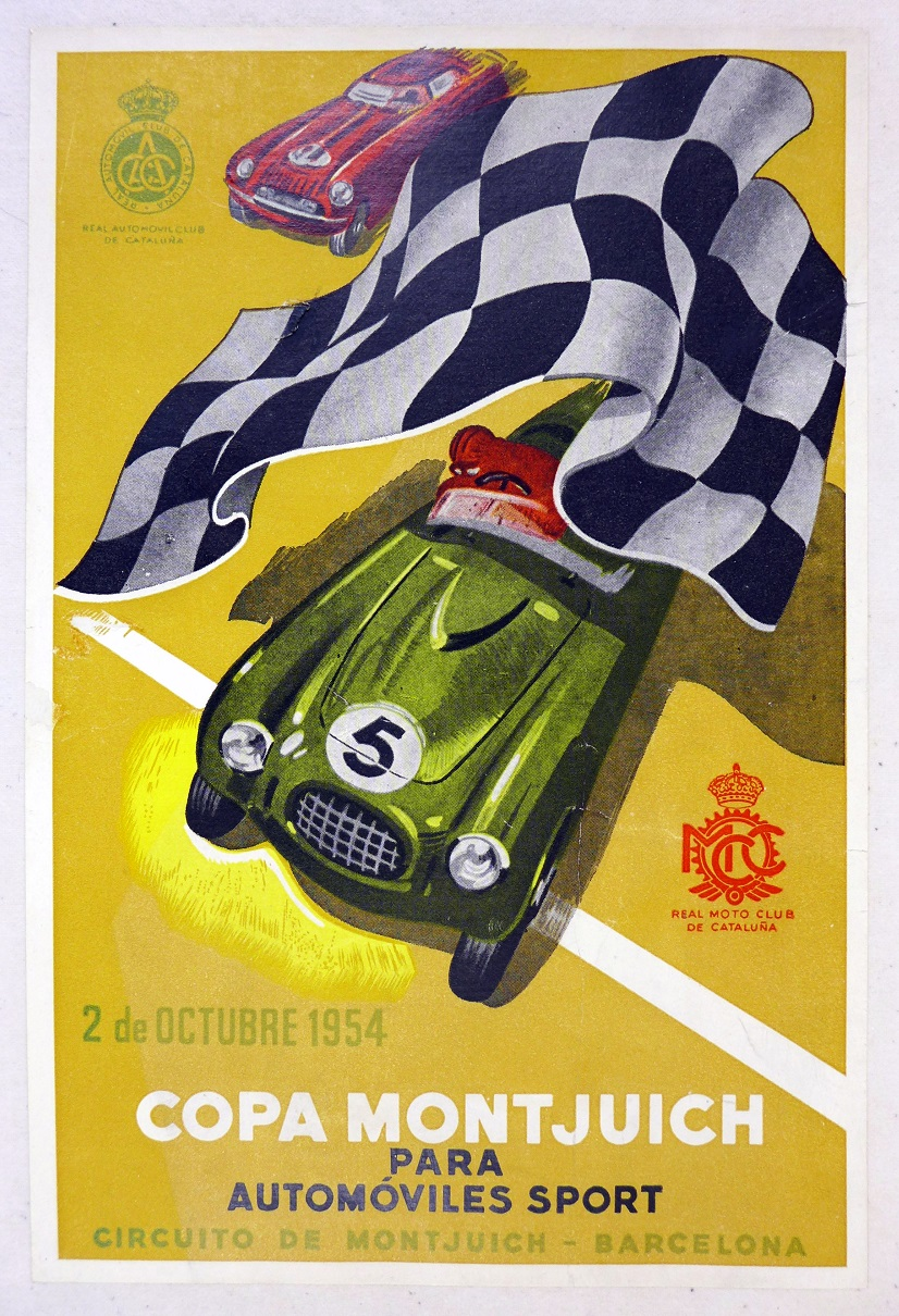 Copa Montjuich 1954 original vintage auto race event mini poster hand bill