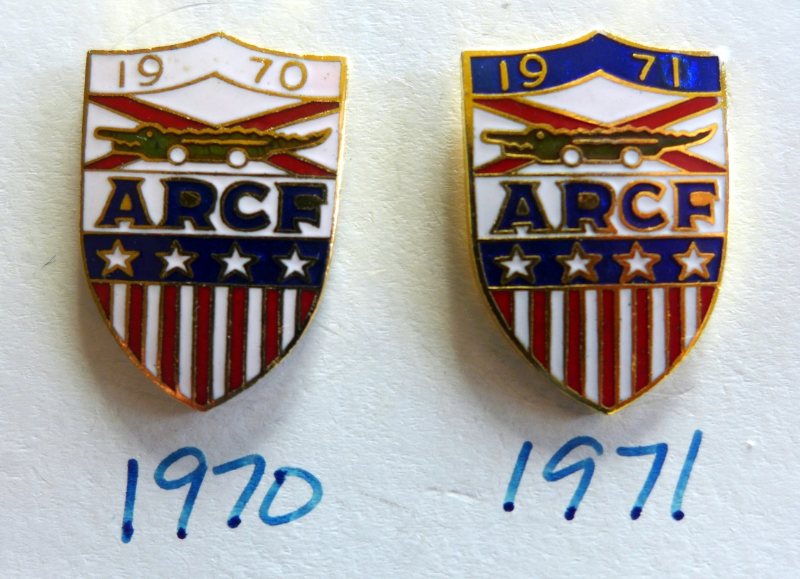 ARCF original vintage auto race event pins, 1970 and 1971