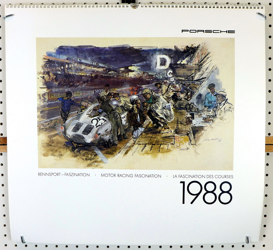 1988 Porsche Factory official calendar Walter Gotschke artwork racing cars