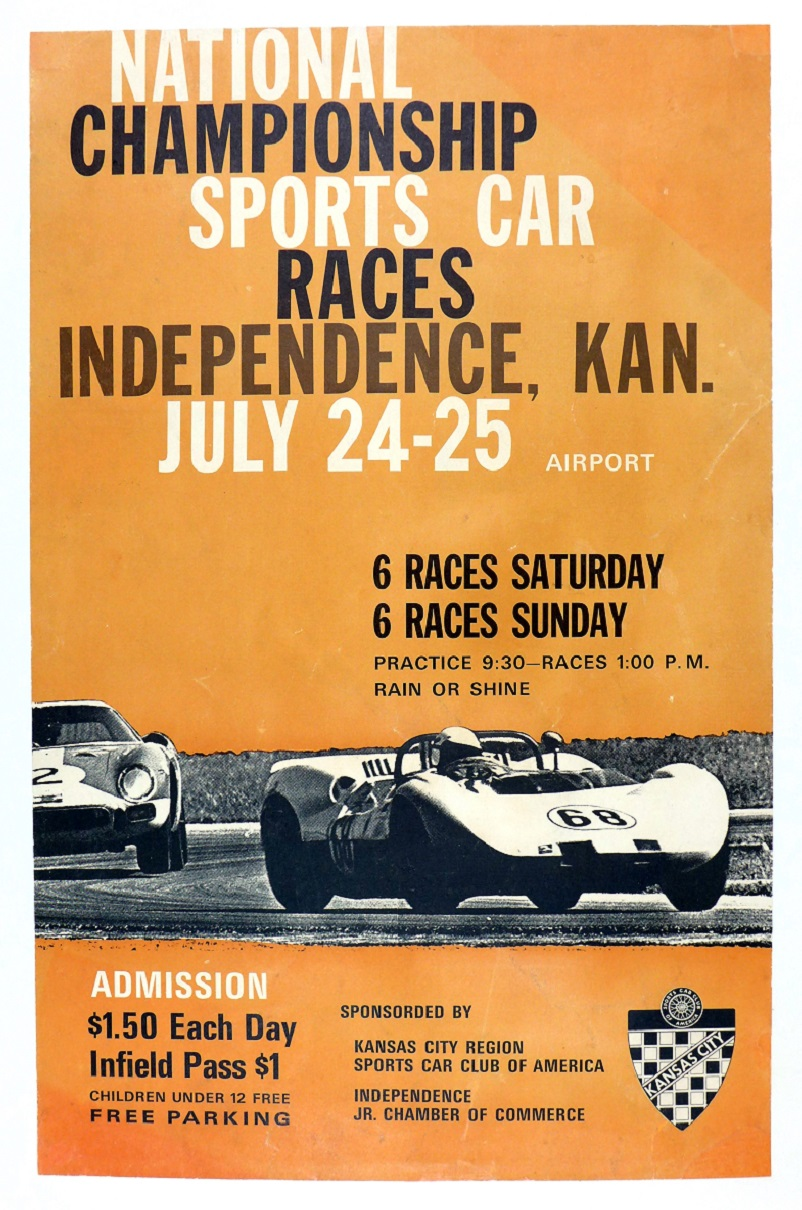 1965 Independence KS original vintage race event poster Chaparral Ferrari GTO