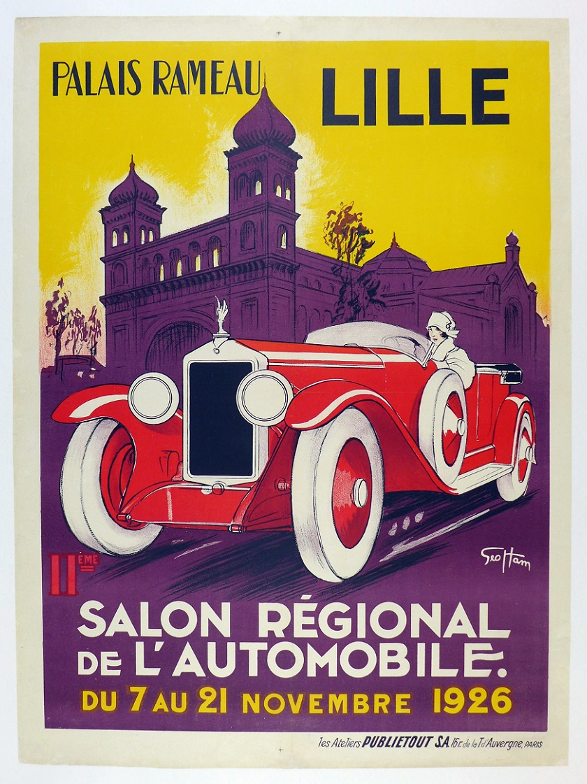 1926 Auto Salon Lille original vintage advertising poster Geo Ham