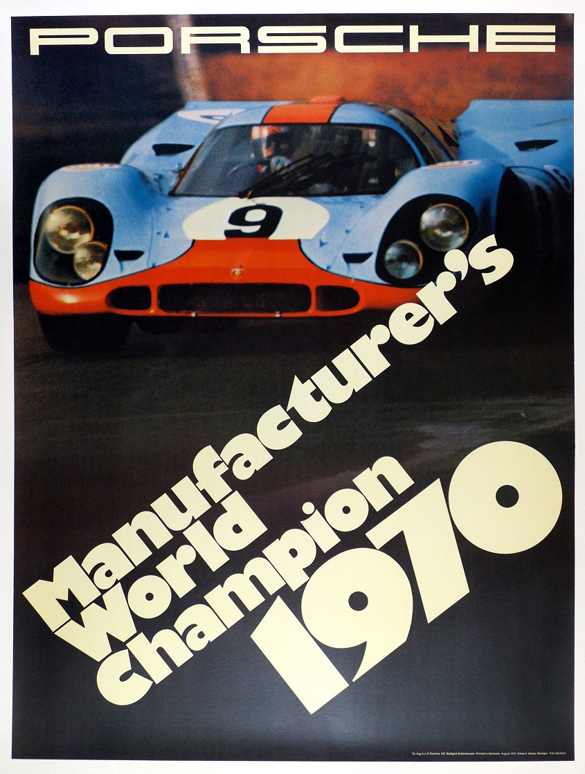 Porsche Factory world champion 1970 original vintage auto race commemorative poster