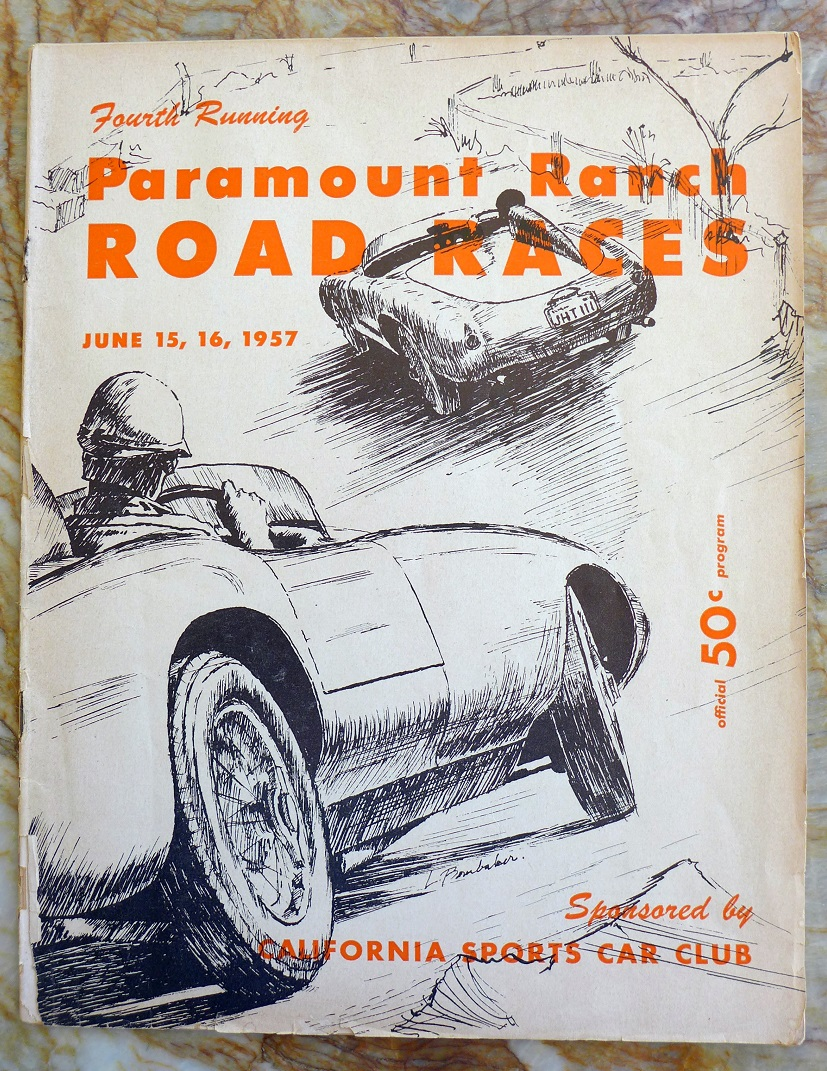 Paramount Ranch road races program original vintage 4th running June 1957