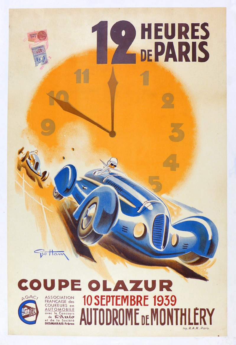 12 Hours Paris 1939 original vintage auto race event poster Geo Ham