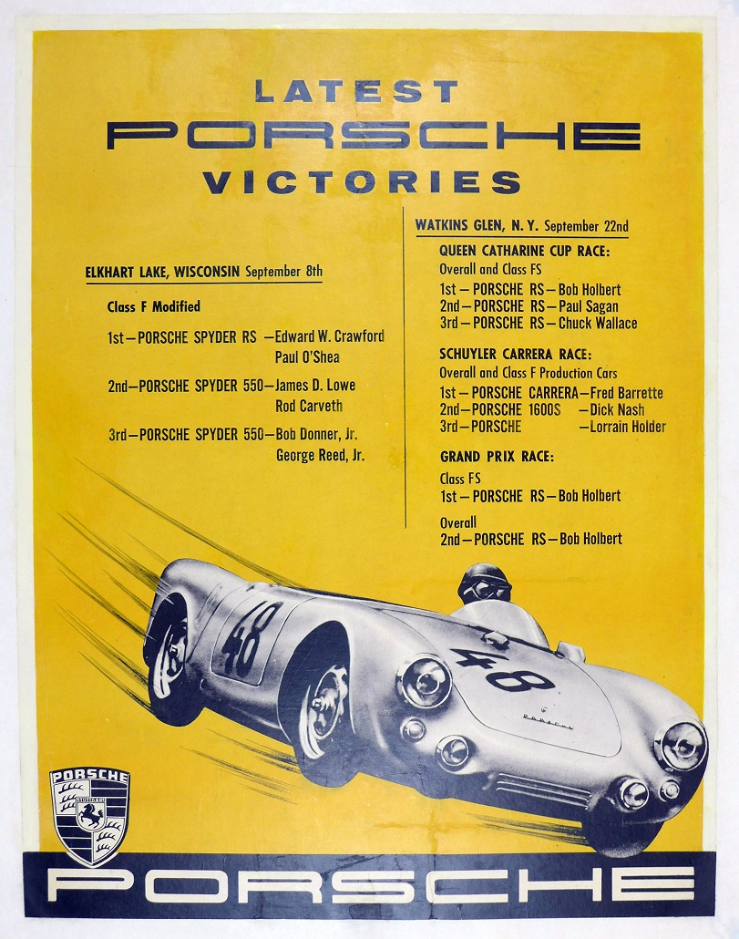 Latest Porsche Victories, Elkhart Lake, Porsche of America original vintage poster