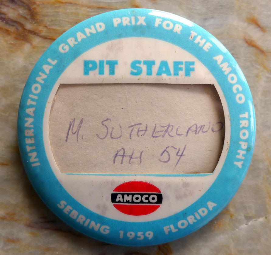 1959 Sebring Grand Prix Pit Staff badge