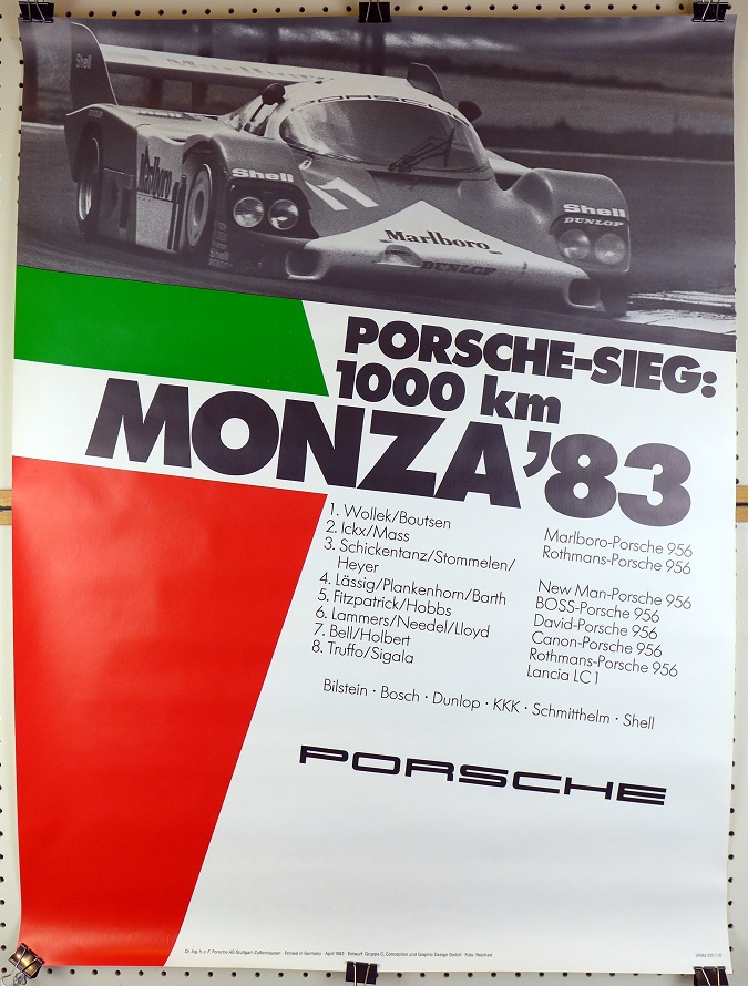 Monza 1983 original vintage Porsche Factory race commemorative poster 956
