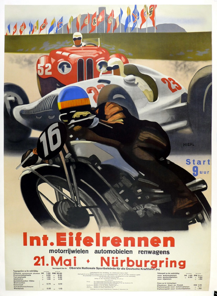 International Eifelrennen original vintage race event poster