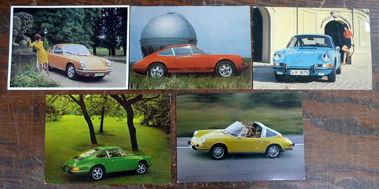 Porsche Factory post cards 911S, 911E, 911, Targa