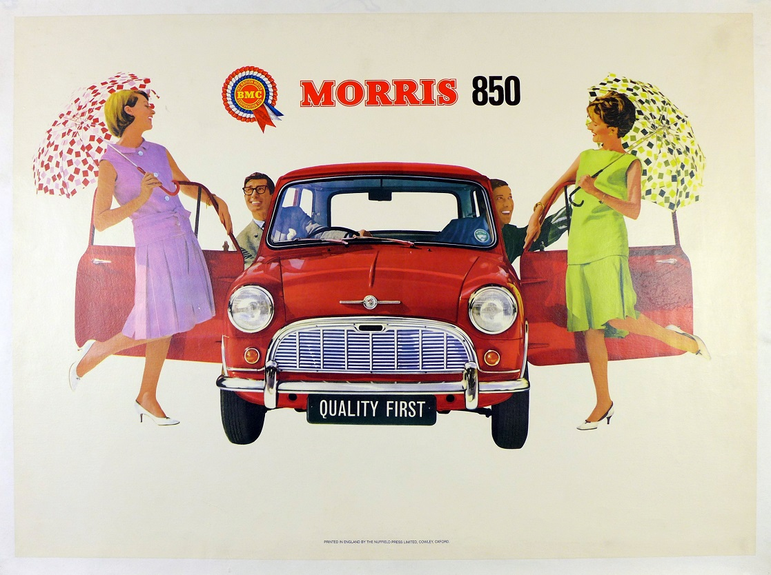 Morris Mini original vintage auto advertising showroom poster