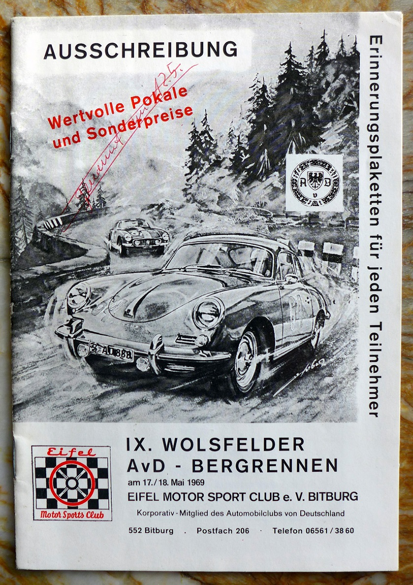 9th Wolsfelder Bergrennen regulations 1969