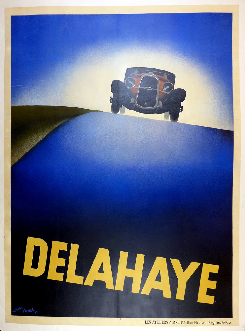 Delahaye original vintage auto advertising poster Perot 1932