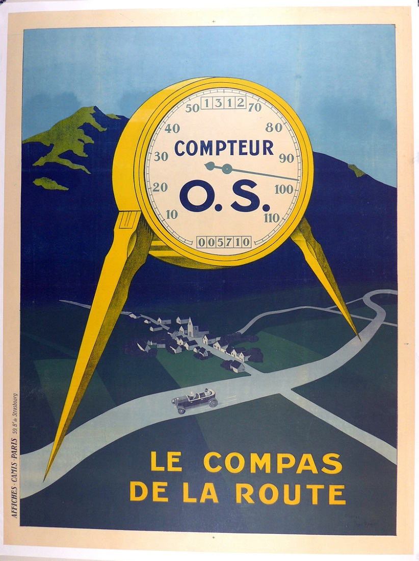 O.S. Compteur, original vintage auto speedometer advertising, Theo Roger