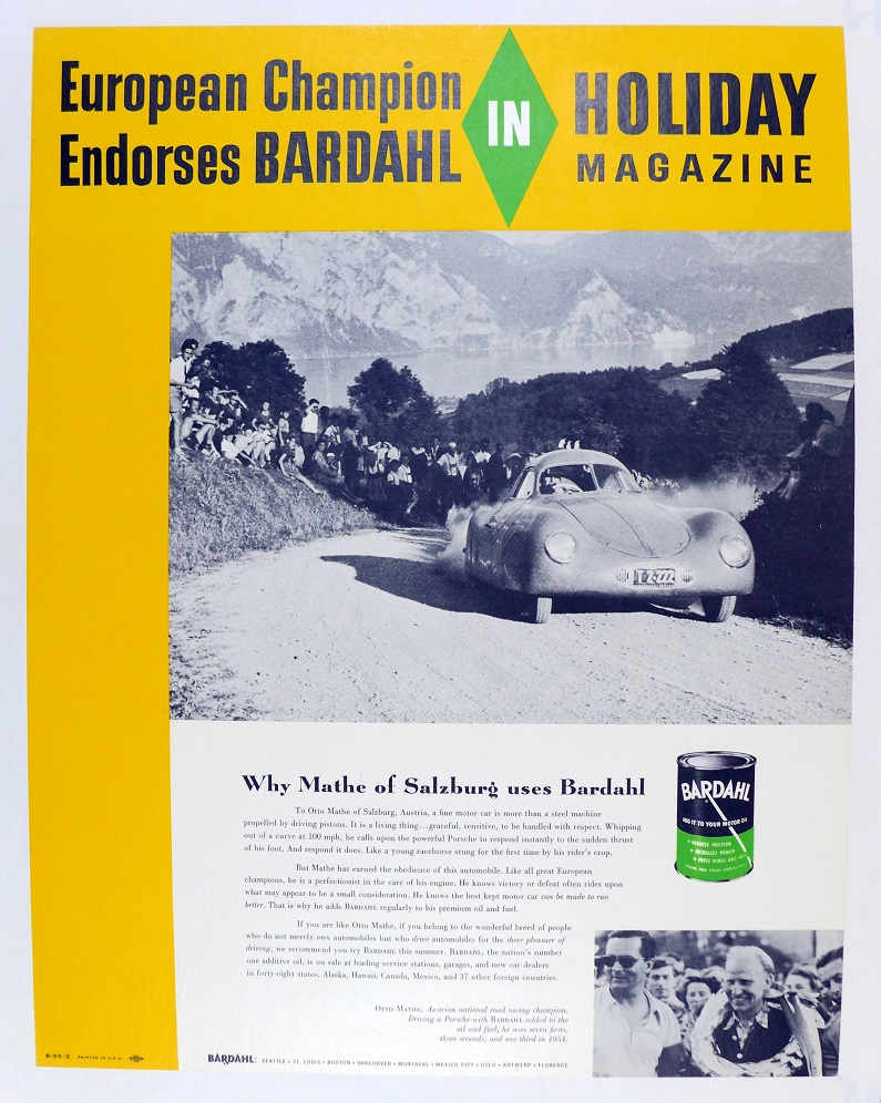 Bardahl Holiday Magazine ad page, Otto Mathe car
