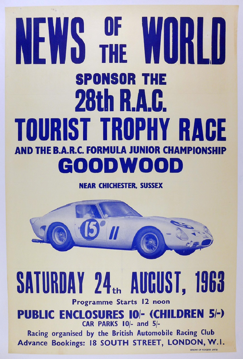 Tourist Trophy 1963 Goodwood Ferrari GTO original vintage auto race event poster