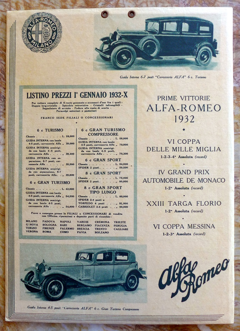 Alfa Romeo 1932 Race Results & Price List original vintage auto advertising window card