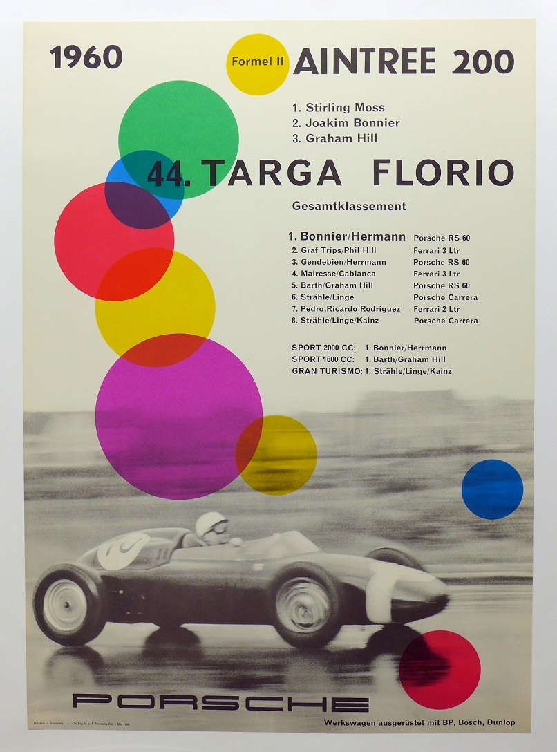 1960 Aintree and Targa Florio original vintage Porsche racing commemorative poster