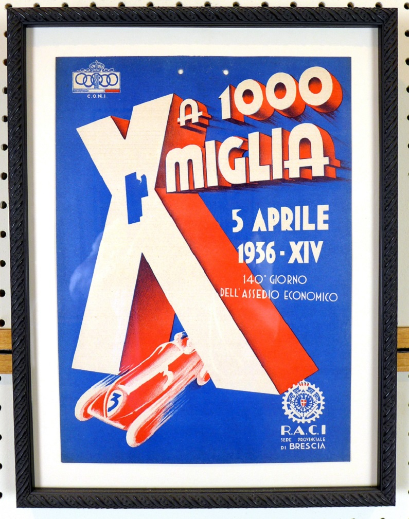 1936 Mille Miglia original vintage auto race advertising window card