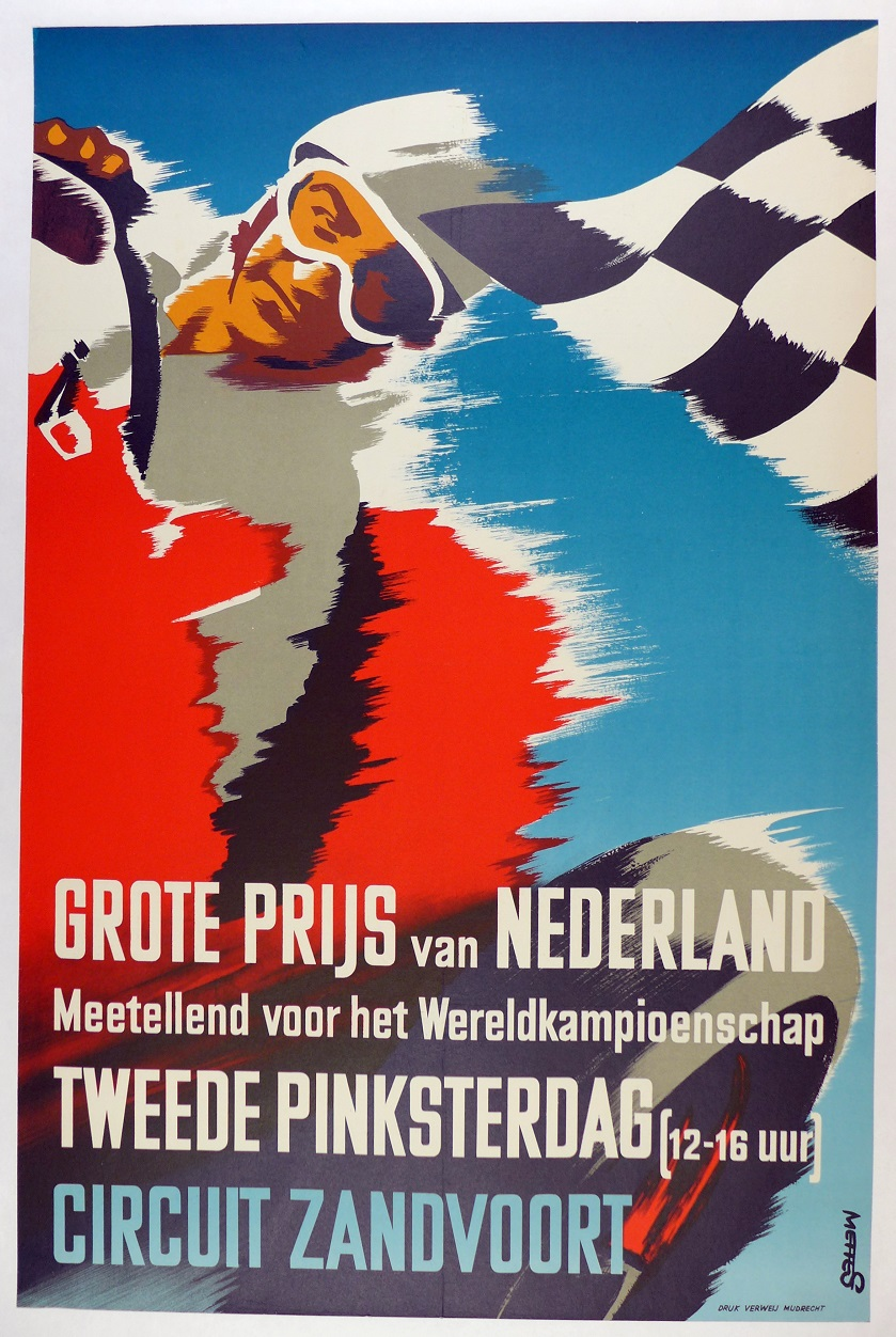 1955 Netherlands Grand Prix, Ascari, original vintage event poster
