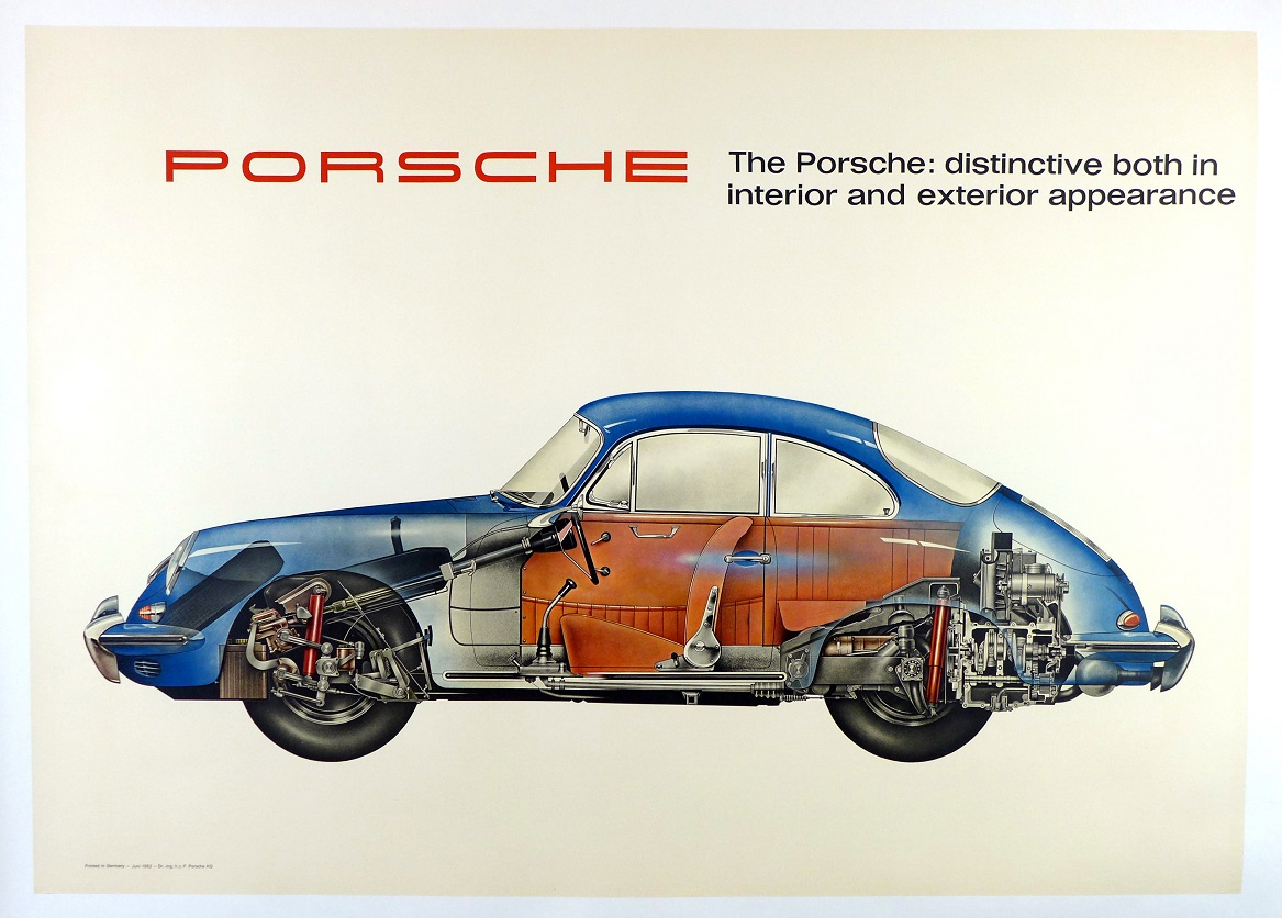 Porsche Cut-a-way Factory original vintage showroom poster