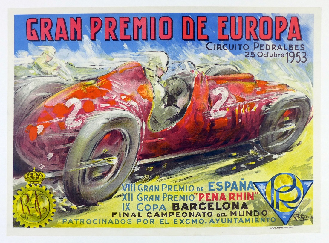 1953 Grand Prix Europe original vintage auto race event poster
