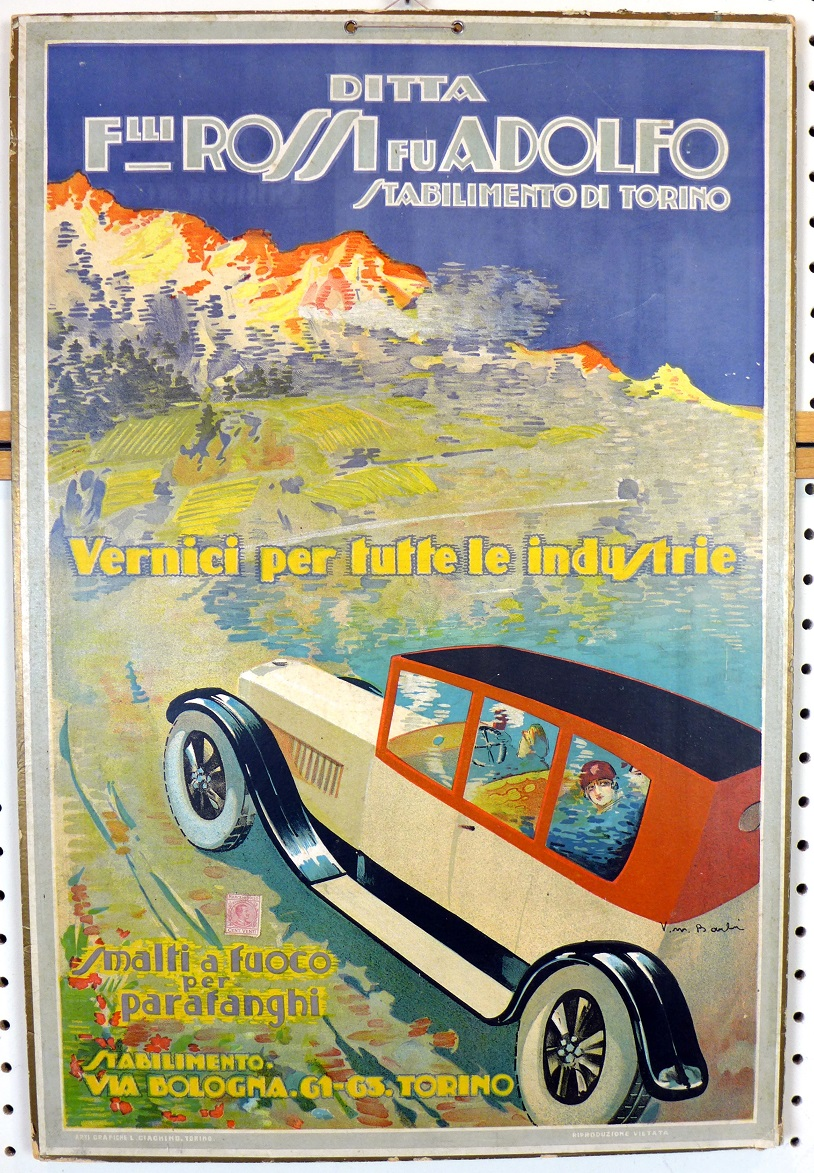 Fratelli Rossi fu Adolfo original vintage auto advertising poster