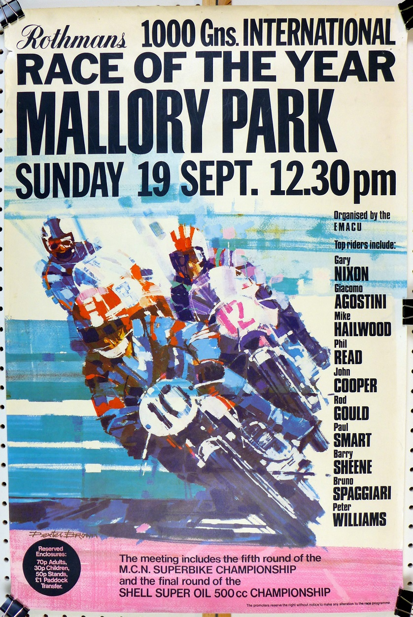 Mallory Park Race of the Year 1971 original vintage motorcycle poster Dexter Brown