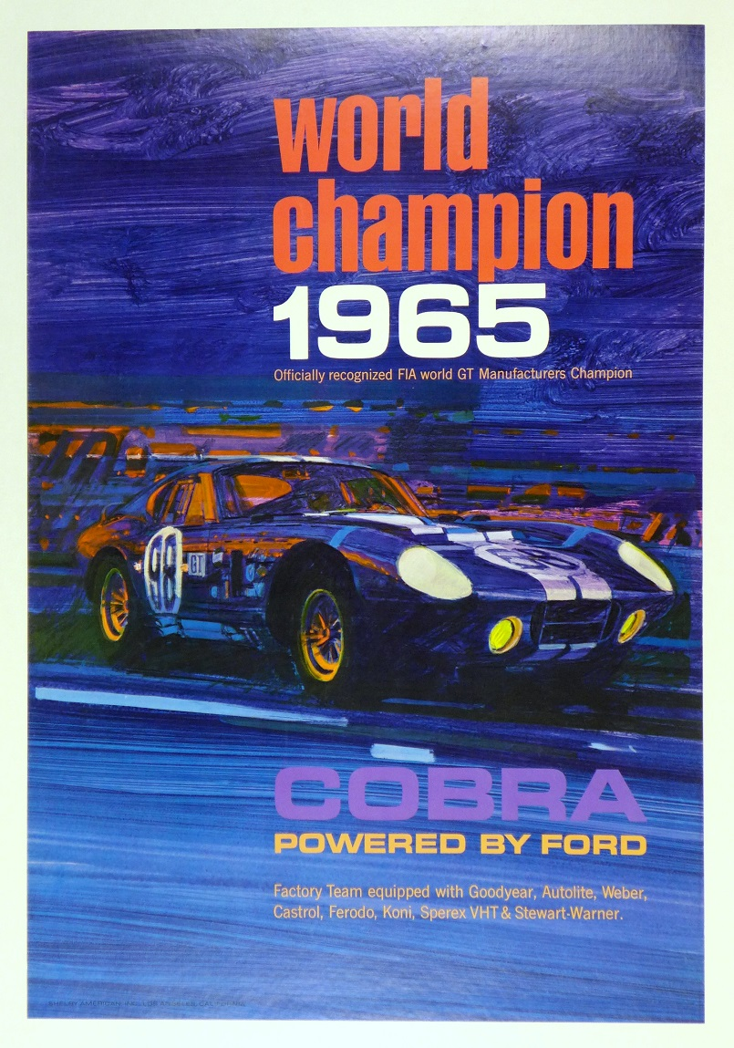 World Championship 1965, Shelby American original vintage poster featuring the Cobra Daytona Coupe