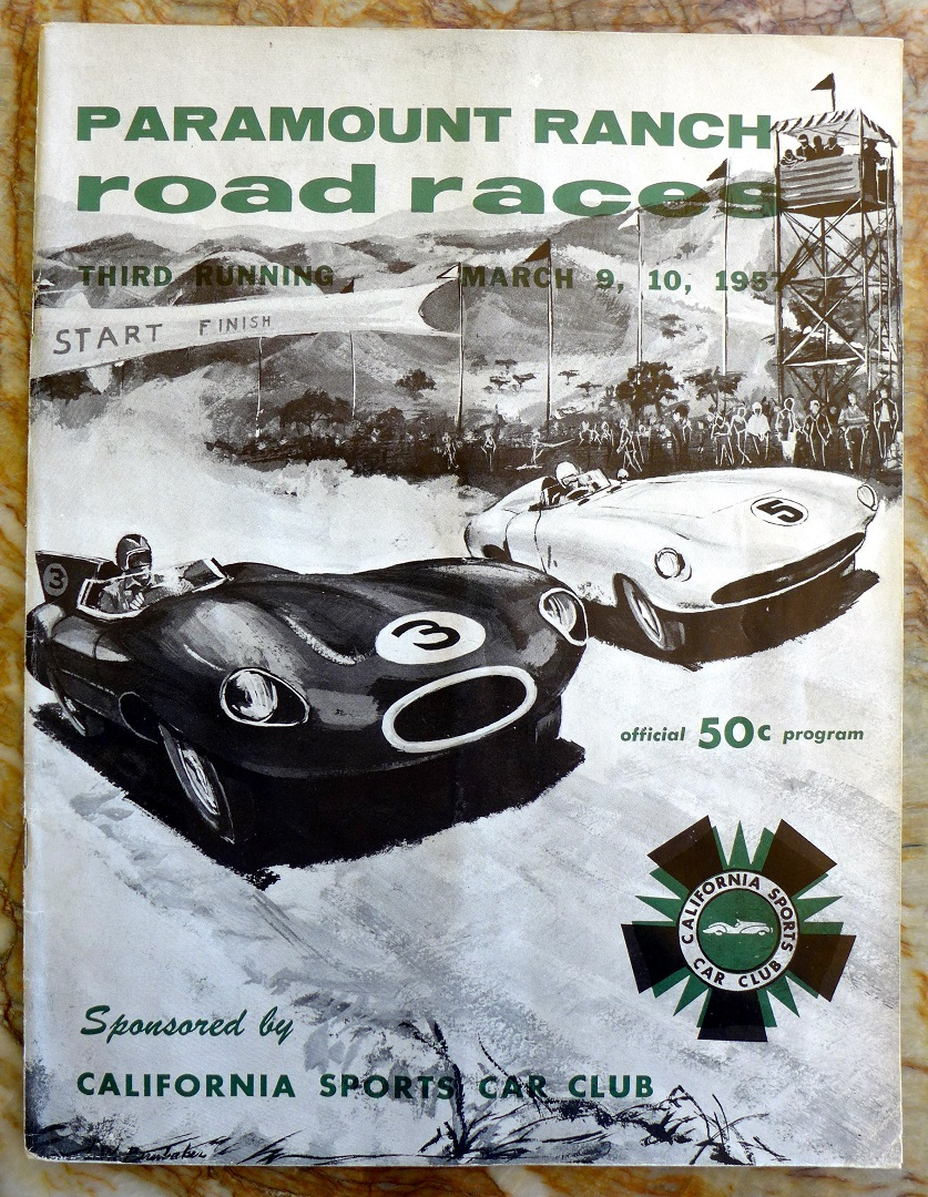 Paramount Ranch road races, 3rd running, March 1957 original vintage program + ticket