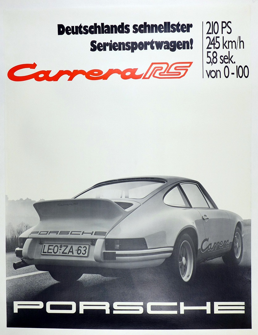 Carrera RS with Specs original vintage Porsche advertising showroom poster