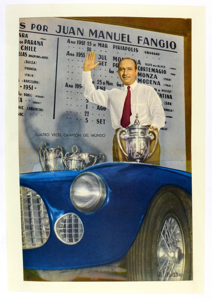 Fangio 1954 World Champion original vintage auto commemorative poster