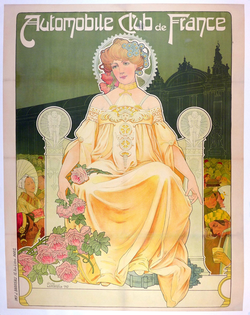 Automobile Club de France 1903 original vintage auto advertising poster Livemont